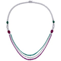 Emerald, Ruby, and Diamond Necklace Mounted in 18 Karat Gold
