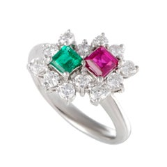 Emerald Ruby and Diamond Platinum Cluster Ring