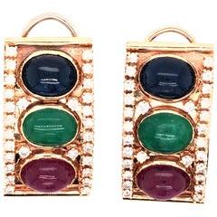 Emerald, Ruby and Sapphire Diamond 14 Karat Gold Retro Earring