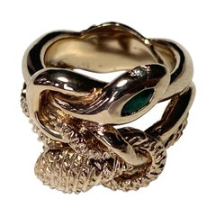 Emerald Ruby Aquamarine Double Snake Ring Bronze J Dauphin
