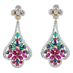 Emerald Ruby Blue Sapphire Diamond 18 Karat Gold Earrings