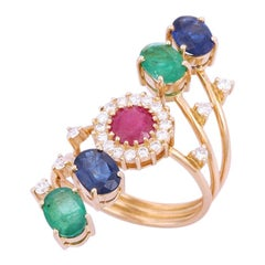 Emerald Ruby Blue Sapphire Diamond 18 Karat Gold Ring