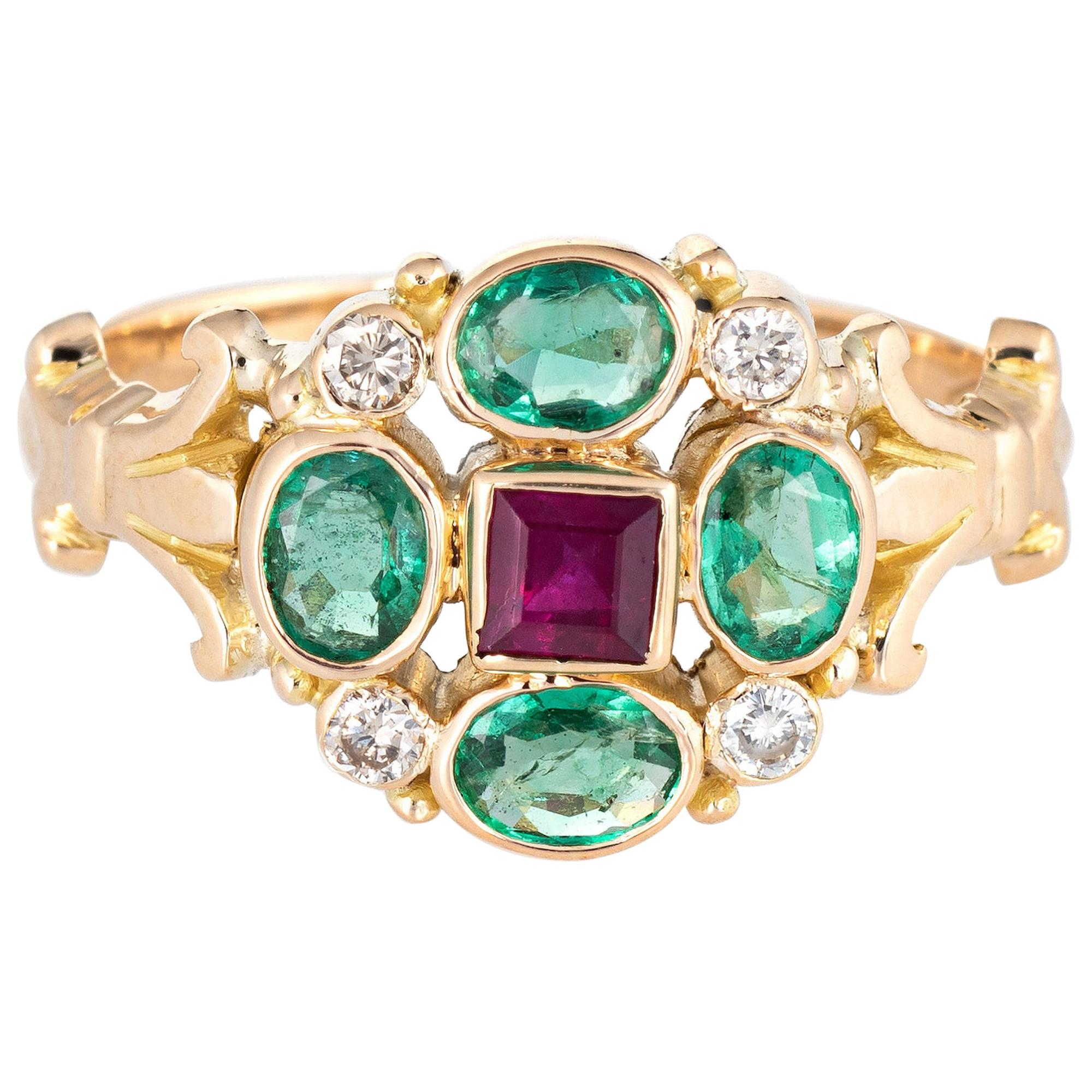 Emerald Ruby Cluster Ring Vintage 18 Karat Yellow Gold Estate Fine Jewelry