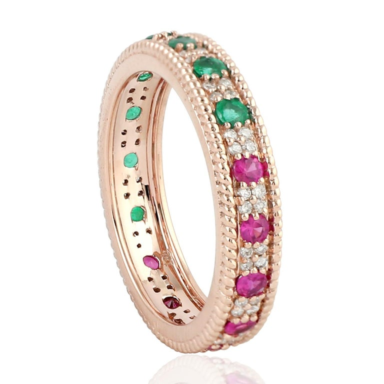 Contemporary Emerald Ruby Diamond 18 Karat Gold Eternity Ring For Sale