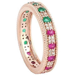 Emerald Ruby Diamond 18 Karat Gold Eternity Ring