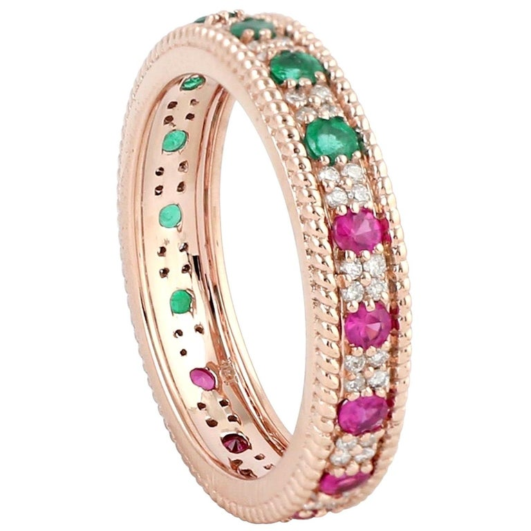 Emerald Ruby Diamond 18 Karat Gold Eternity Ring For Sale