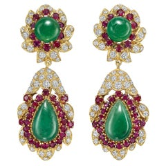 Emerald, Ruby, Diamond and Jade Pendant Earrings