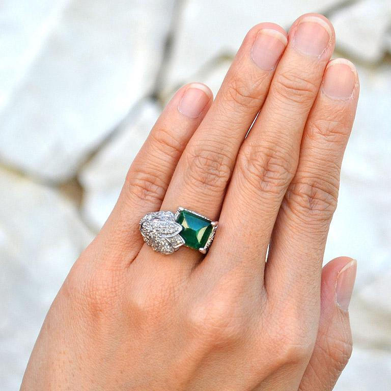 Emerald Ruby Diamond Bird Cocktail Ring For Sale At 1stdibs