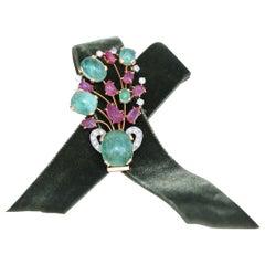 Emerald Ruby Diamond Brooch Pin 1910 Collection Princess Theresa