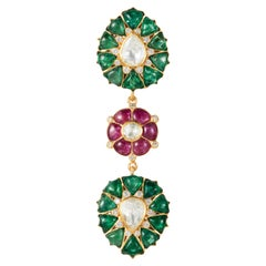 Emerald, Ruby Diamond, 18 Karat Gold Tear Shape Pendant by Manpriya B