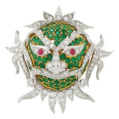 Emerald Ruby Diamond Mask Brooch