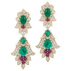 Emerald Ruby Earrings Yellow Gold 18 Karat Cabochon Diamond Dangle Andreoli