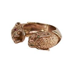 Emerald Ruby Jaguar Ring Animal Jewelry Bronze J Dauphin