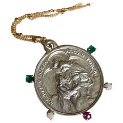 Emerald Ruby Opal Virgin Mary Medal Necklace Silver Pendant Gold Filled Chain J