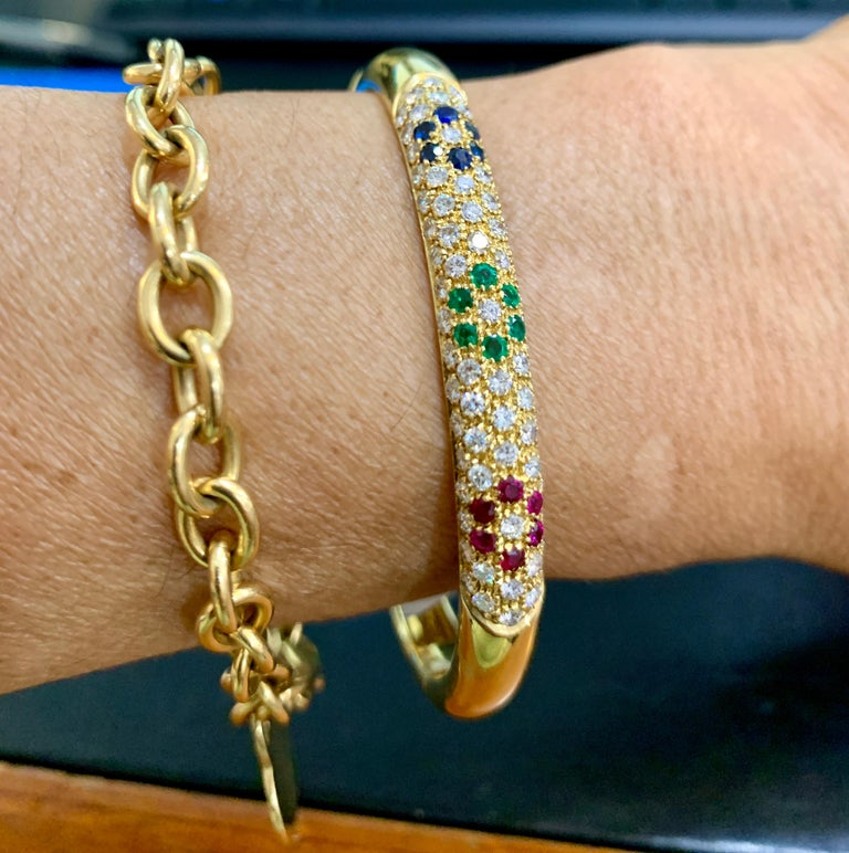 Emerald Ruby Sapphire and Diamond Cuff Bangle Bracelet in 18 Karat Yellow Gold For Sale 2