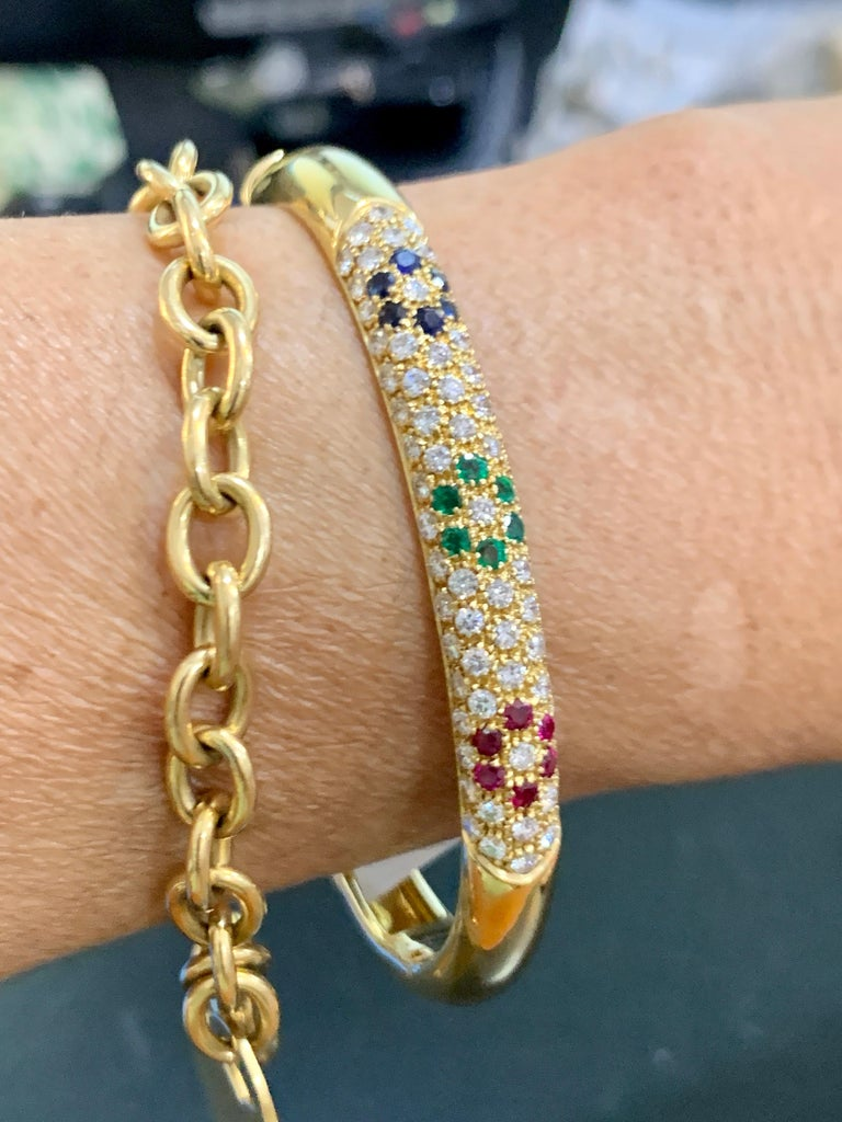 Emerald Ruby Sapphire and Diamond Cuff Bangle Bracelet in 18 Karat Yellow Gold For Sale 3