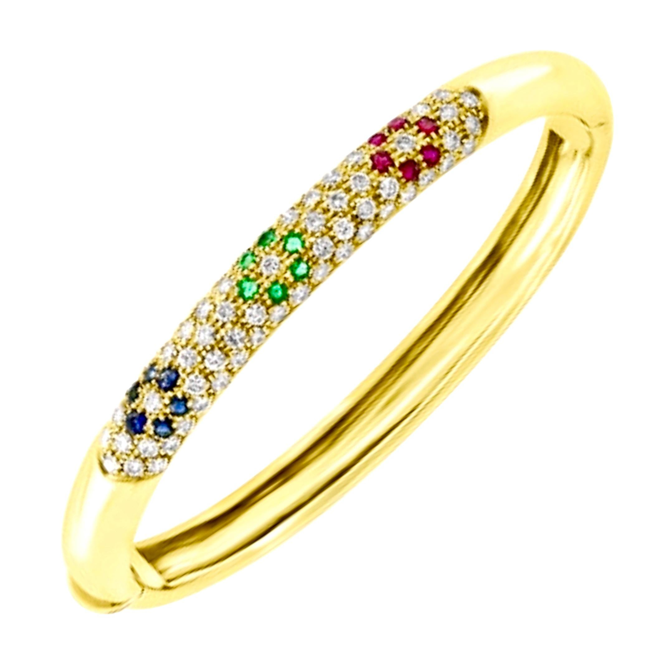 Emerald Ruby Sapphire and Diamond Cuff Bangle Bracelet in 18 Karat Yellow Gold