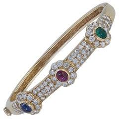 Emerald, Ruby, Sapphire and Diamond Flower Bangle Bracelet