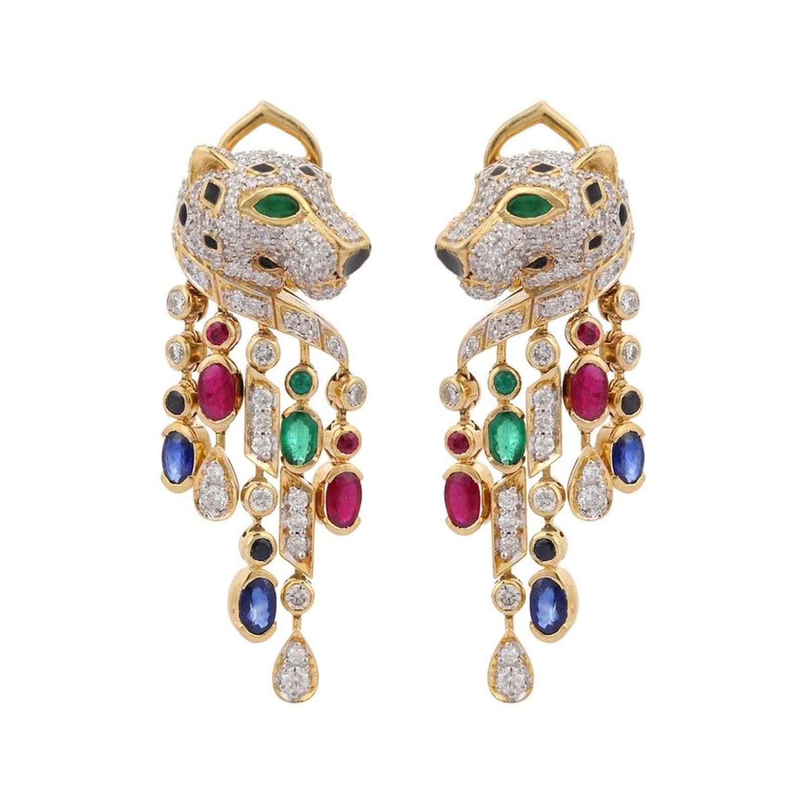 Emerald Ruby Sapphire Diamond 14 Karat Gold Panther Earrings