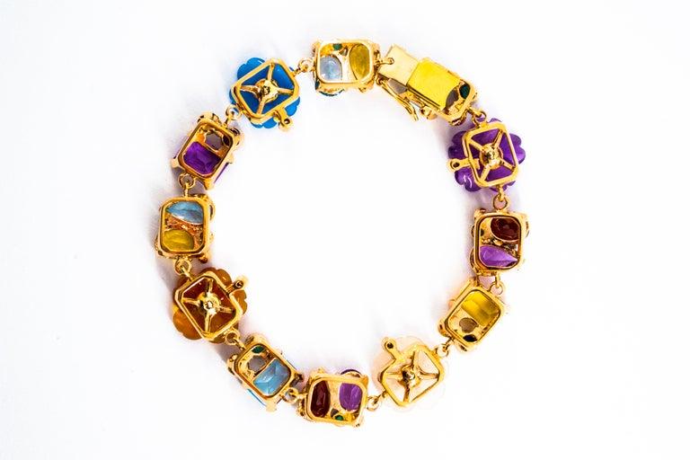Art Nouveau Emerald Ruby Sapphire Diamond Citrine Agate Pearl Yellow Gold Flowers Bracelet For Sale