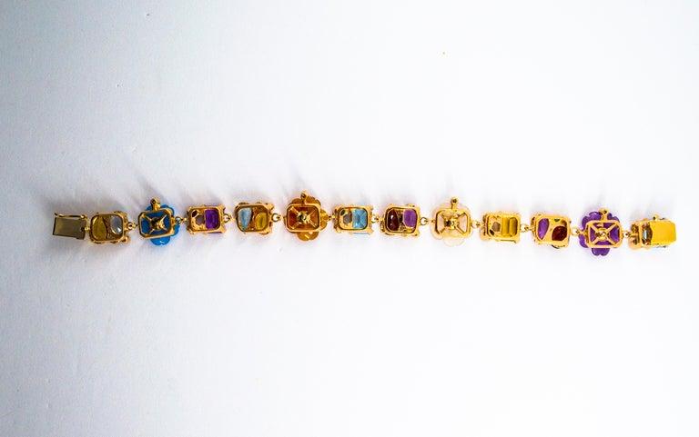 Brilliant Cut Emerald Ruby Sapphire Diamond Citrine Agate Pearl Yellow Gold Flowers Bracelet For Sale