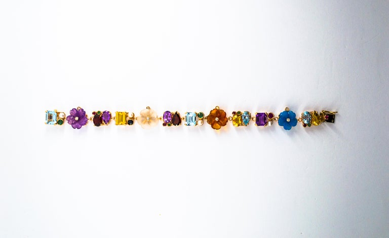 Emerald Ruby Sapphire Diamond Citrine Agate Pearl Yellow Gold Flowers Bracelet In New Condition For Sale In Naples, IT