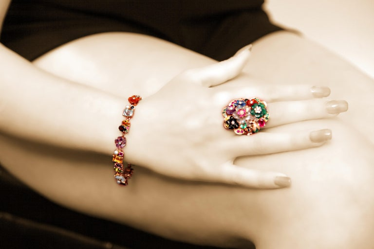 Emerald Ruby Sapphire Diamond Citrine Agate Pearl Yellow Gold Flowers Bracelet For Sale 2
