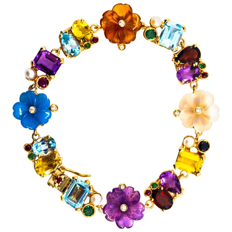 Emerald Ruby Sapphire Diamond Citrine Agate Pearl Yellow Gold Flowers Bracelet For Sale
