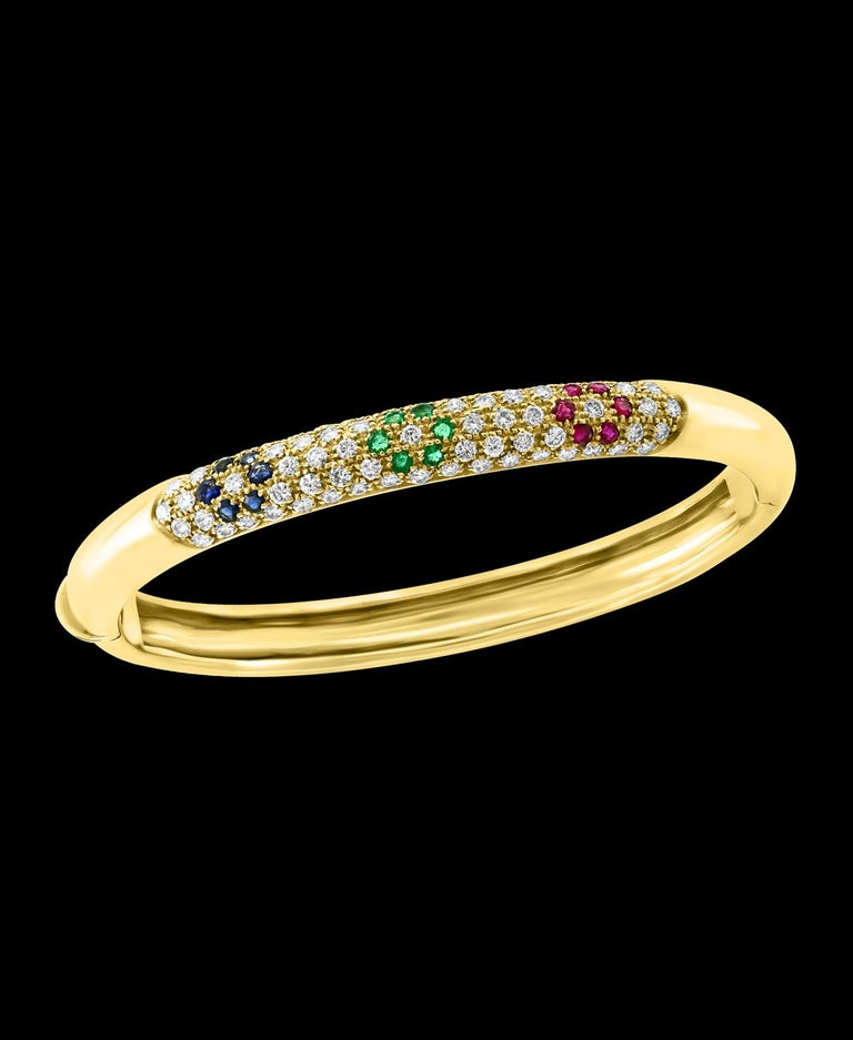 Round Cut Emerald Ruby Sapphire and Diamond Cuff Bangle Bracelet in 18 Karat Yellow Gold For Sale