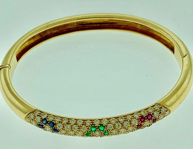 Women's Emerald Ruby Sapphire and Diamond Cuff Bangle Bracelet in 18 Karat Yellow Gold For Sale
