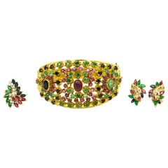 Emerald Ruby Sapphire Diamond Gold Suite Bangle Bracelet Earrings and Ring
