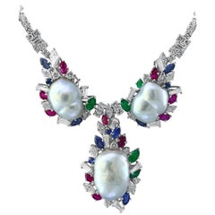 Emerald Ruby Sapphire Diamond Pearl Necklace and Ring Set in 18 Karat Gold