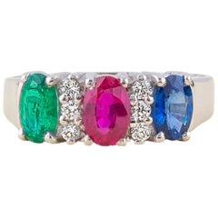 Emerald Ruby Sapphire Diamond Ring
