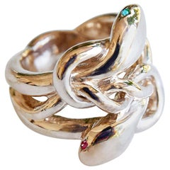 Emerald Ruby Snake Ring Victorian Style Bronze Cocktail Ring J Dauphin