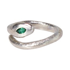 Emerald Ruby Snake Ring Silver Cocktail Style Animal J Dauphin