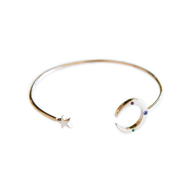 Emerald Ruby Tanzanite Love Bracelet Moon Star Arm Cuff Bronze J Dauphin  J DAUPHIN