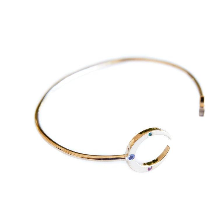 Round Cut Emerald Ruby Tanzanite Love Bracelet Moon Star Arm Cuff Bronze J Dauphin For Sale