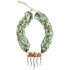 Emerald, Ruby, Tourmaline Gold Necklace