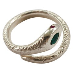 Emerald Ruby White Gold Snake Ring Victorian Cocktail Animal Ring J Dauphin
