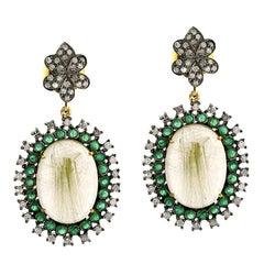Emerald Rutilated Quartz Diamond Earrings