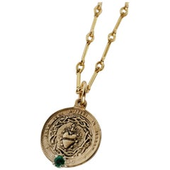 Emerald Sacred Heart Coin Medal Pendant Chain Necklace J Dauphin