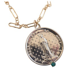 Emerald Saint Medal Coin Silver Jeanne Le Mat Necklace Chain J Dauphin