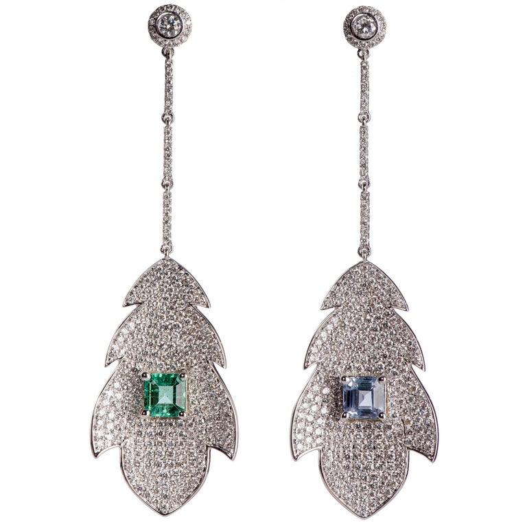 Emerald Sapphire and Diamond Leaf Drop Earrings