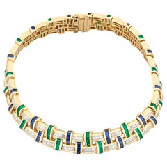 Emerald, Sapphire and Diamond Necklace by Charles Krypell