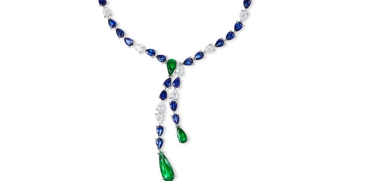 Pear Shaped Emerald, Sapphire and Diamond Necklace. This Necklace is part of a Suite and can be purchased individually.  Striking necklace and color combination. The gorgeous Colombian Emeralds matched with the beautiful Ceylon Sapphires play as if