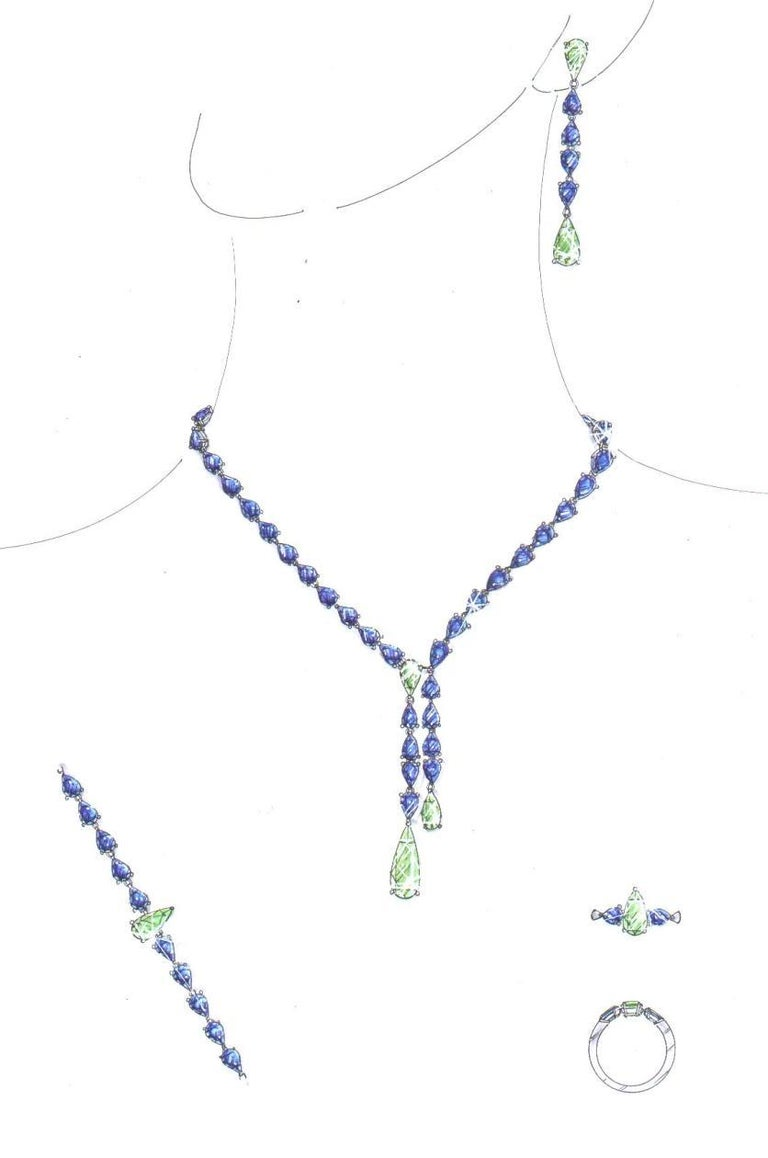 Pear Cut Emerald, Sapphire and Diamond Pear Shaped Drop Necklace For Sale