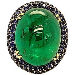 Takat 27.06 Cts Emerald, Sapphire And Diamond Ring In 18K Yellow Gold