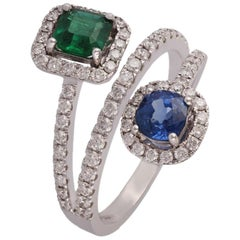 Emerald, Sapphire and Diamond Ring Studded in 18 Karat White Gold