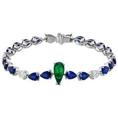 Emerald Sapphire and Pear Shaped Diamond Bracelet