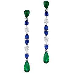Emerald Sapphire and Pear Shaped Diamond Drop Earrings